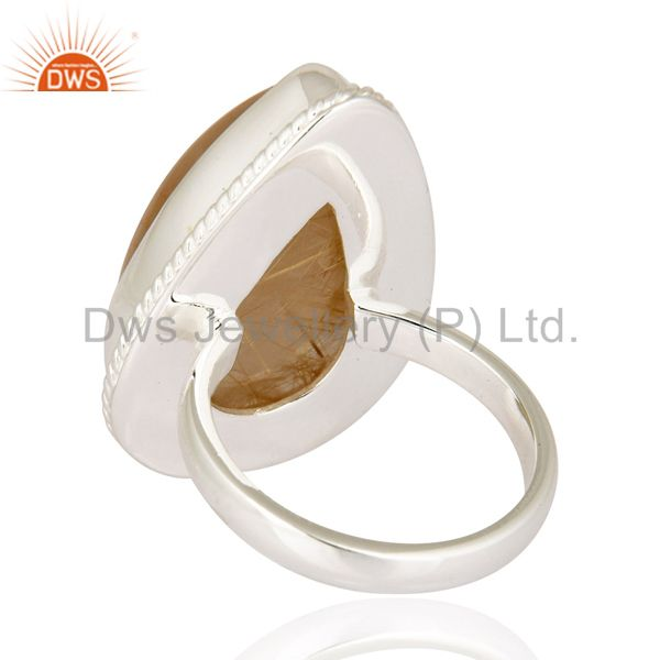 Suppliers Genuine Golden Rutilated Quartz Gemstone Ring Handcrafted In 925 Sterling Silver