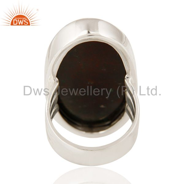 Suppliers Natural Bloodstone Cabochon Gemstone Ring In Solid Sterling Silver
