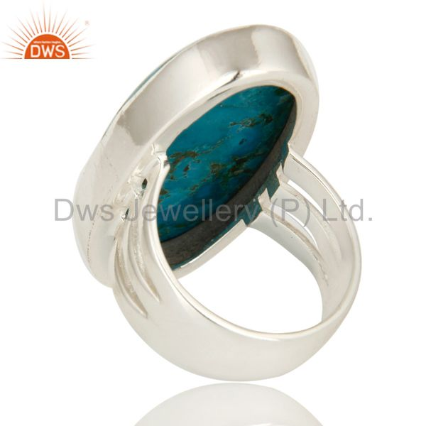 Suppliers 925 Sterling Silver Natural Turquoise Gemstone Oval Statement Ring