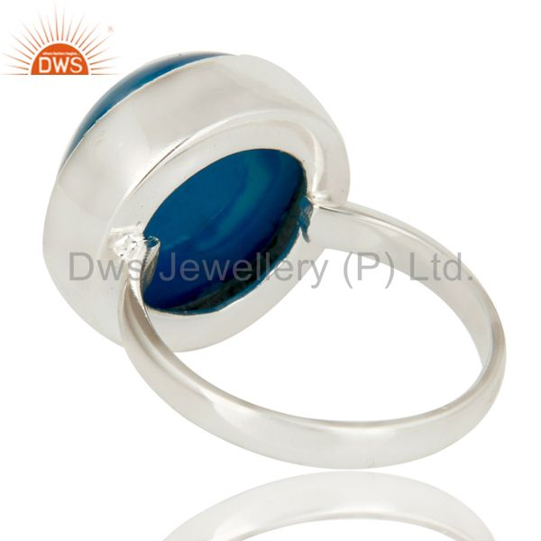 Suppliers Handmade Round Blue Drusy Agate Solid Sterling Silver Coctail Ring