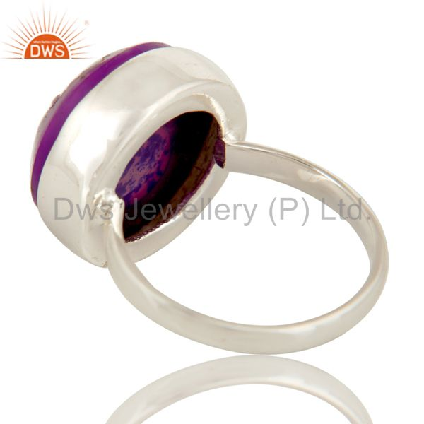 Suppliers Handmade Natural Purple Druzy Statement Ring Jewellery With 925 Sterling Silver