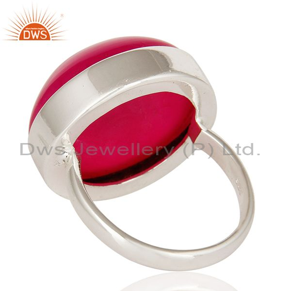 Suppliers Round Pink Druzy 925 Sterling Silver Bezel-Set Cocktail Ring