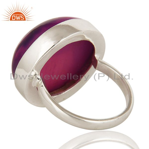 Suppliers Purple Druzy Agate Gemstone Bezel Set Stacking Ring in Solid Sterling Silver