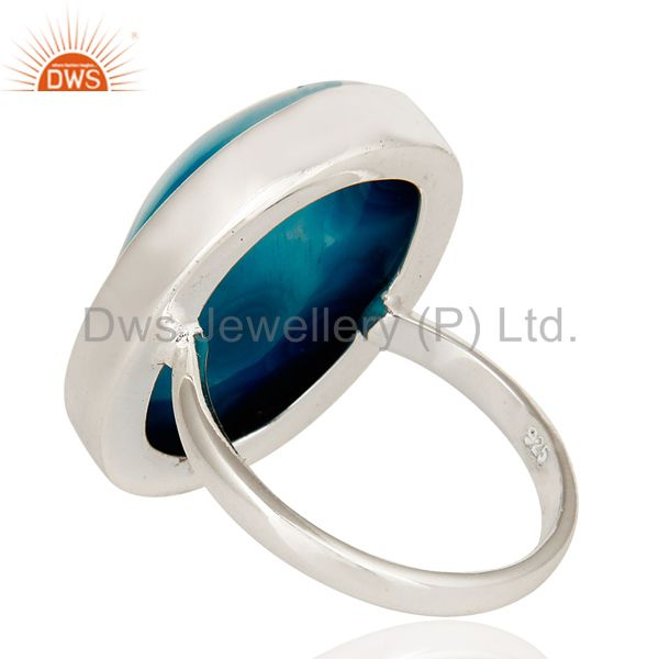 Suppliers Blue Agate Druzy Statement Ring Handmade Solid Streling Silver Jewelry