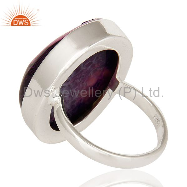 Suppliers Purple Drusy Agate Oval Solid Sterling Silver Bezel-Setting Ring