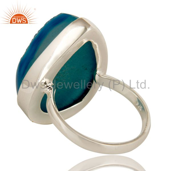 Suppliers Genuine 925 Sterling Silver with Blue Drusy Agate Statement Ring