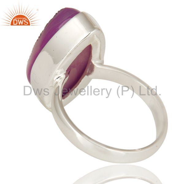 Suppliers Handmade Solid Sterling Silver Bezel-Set Ring With Purple Druzy Agate