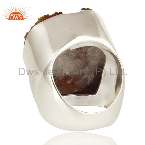 Suppliers Natural Citrine Druzy Sterling Silver High Polish Cocktail Ring