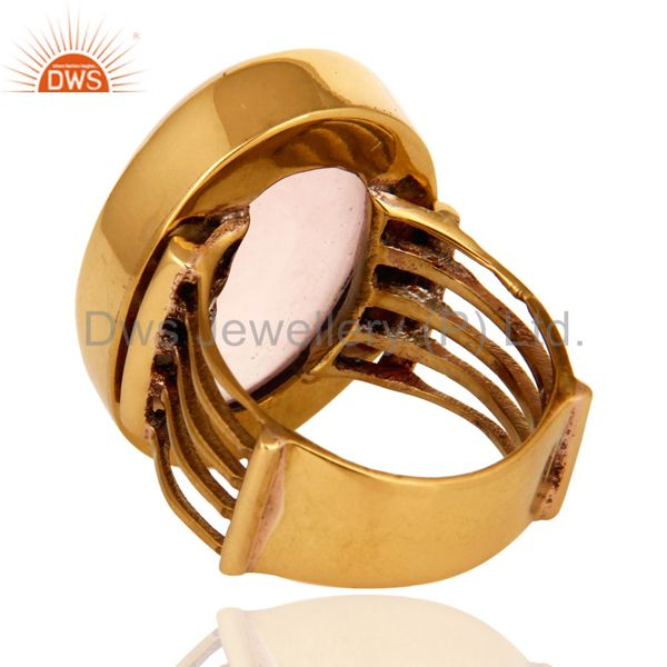 Suppliers Natural Rose Quartz Gemstone Designer Ring In Yellow Gold Over Brass