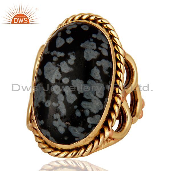 Suppliers Natural Snowflake Obsidian Ring Made In 18K Gold Over Brass Jewelry