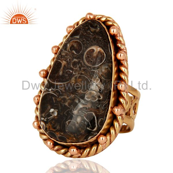 Suppliers Handmade Copper Natural Turritella Agate Gemstone Designer Ring