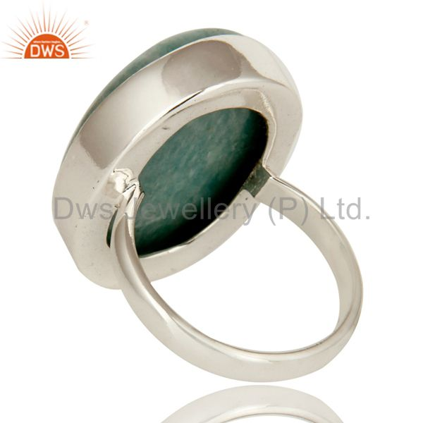 Suppliers Natural Amazonite Gemstone Sterling Silver Bezel Set Statement Ring