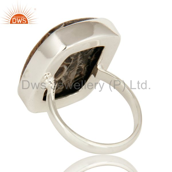 Suppliers Natural Turritella Agate Gemstone Sterling Silver Statement Ring