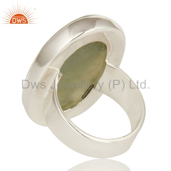 Suppliers Genuine 925 Sterling Silver Bezel Set Lizardite Gemstone Statement Ring