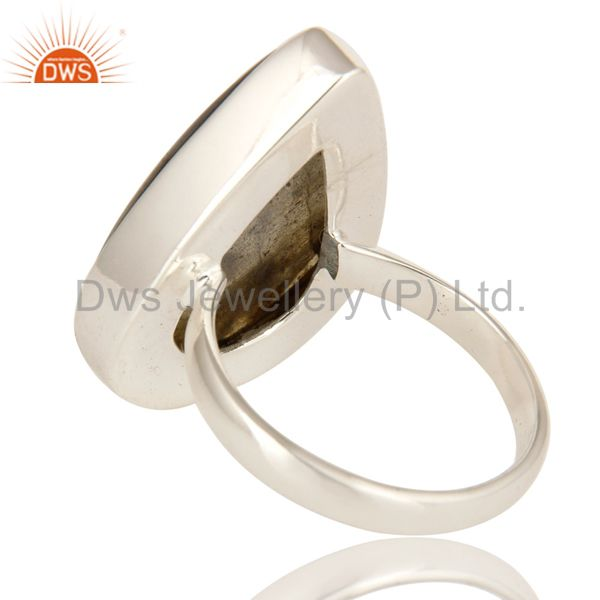 Suppliers Handmade Sterling Silver Natural Labradorite Gemstone Bezel Set Ring