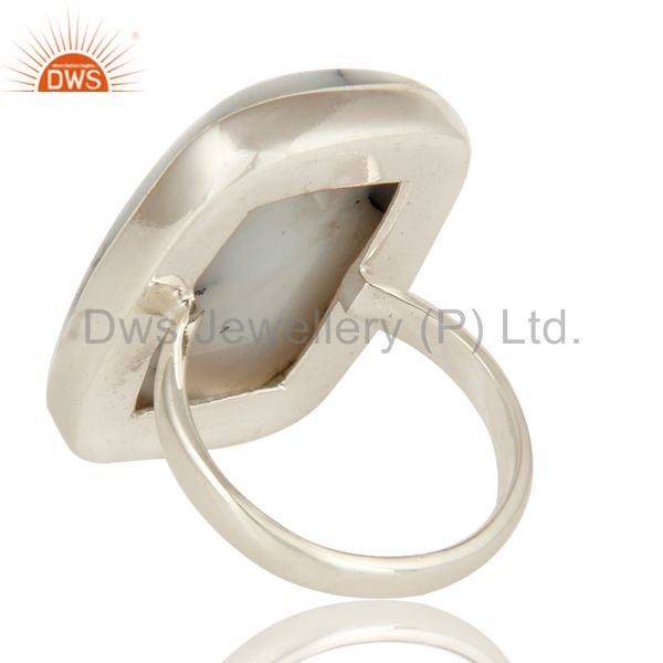 Suppliers Natural Dendritic Opal Gemstone Bezel Set Ring In Sterling Silver