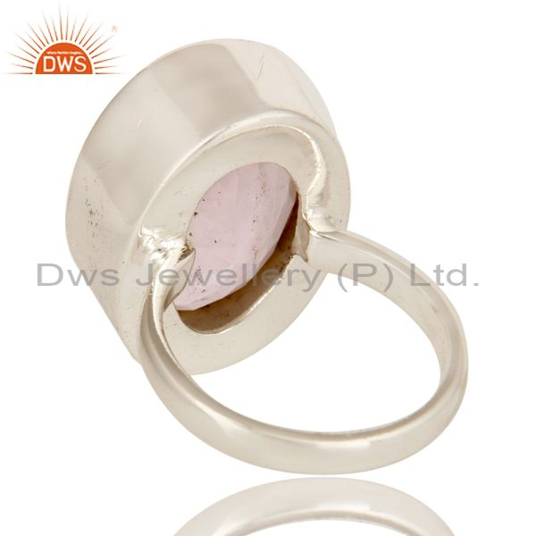Suppliers Handmade 925 Solid Sterling Silver Natural Rose Quartz Gemstone Statement Ring