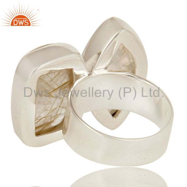 Suppliers Handmade Sterling Silver Rutilated Quartz And Rainbow Moonstone Statement Ring