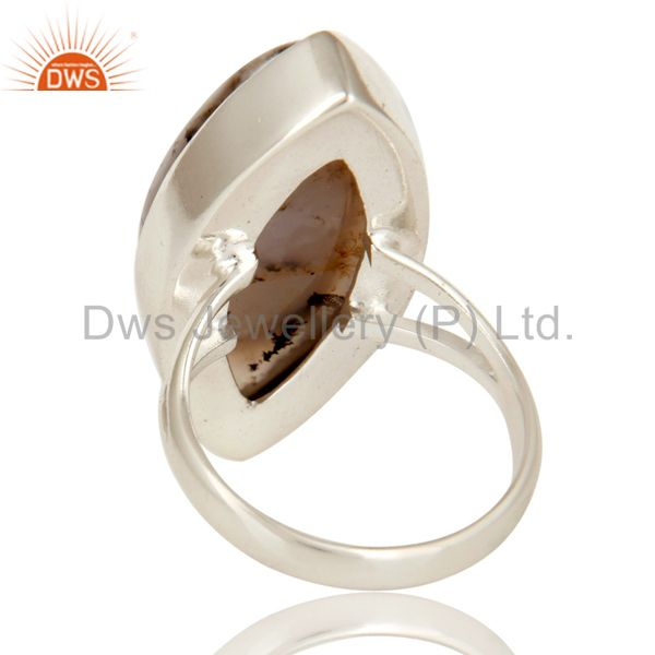 Suppliers Handmade Sterling Silver Dendritic Opal Bezel Set Gemstone Statement Ring