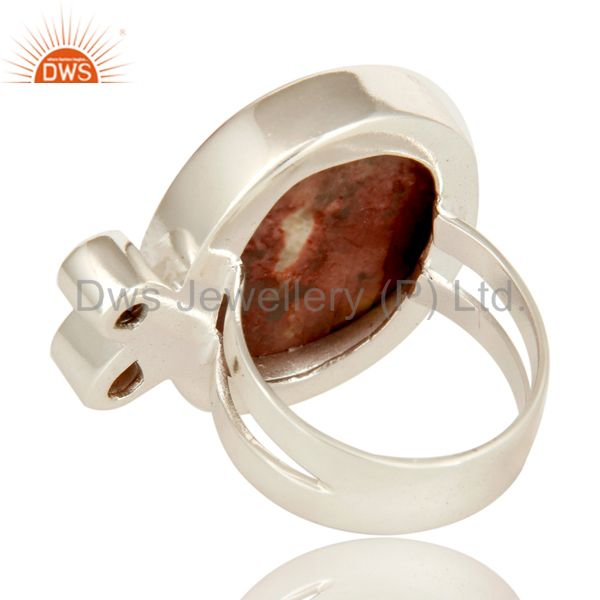 Suppliers Handmade Solid Sterling Silver Mookaite And Garnet Gemstone Statement Ring