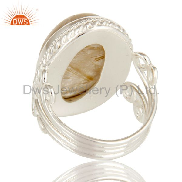 Suppliers Handmade Solid Sterling Silver Golden Rutilated Quartz Gemstone Statement Ring