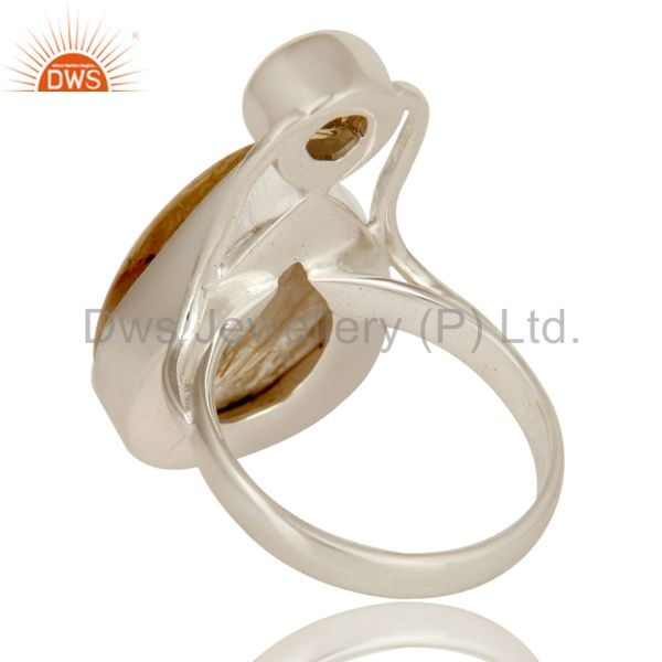 Suppliers Handmade Sterling Silver Citrine And Rutilated Quartz Bezel Set Statement Ring