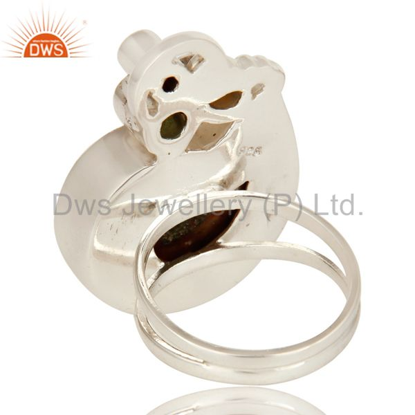 Suppliers Handmade Sterling Silver Garnet, Citrine, Peridot And Ammonite Cocktail Ring