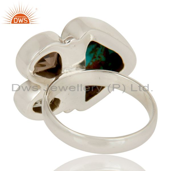 Suppliers Boulder Turquoise, Smokey and Green Amethyst  Sterling Silver Gemstone Ring