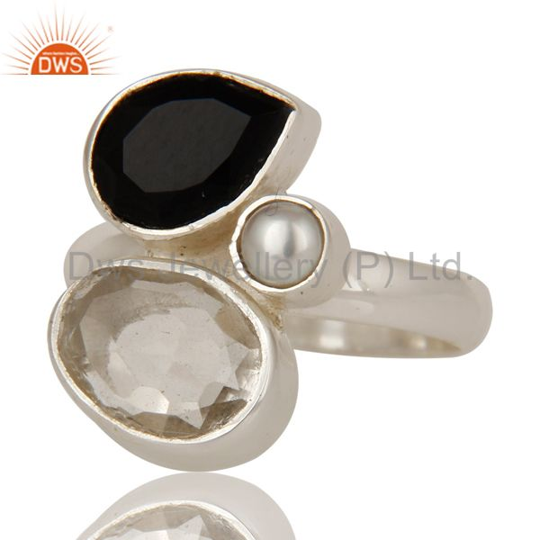Suppliers Black Onyx, Crystal and Pearl Solid Sterling Silver Gemstone Ring