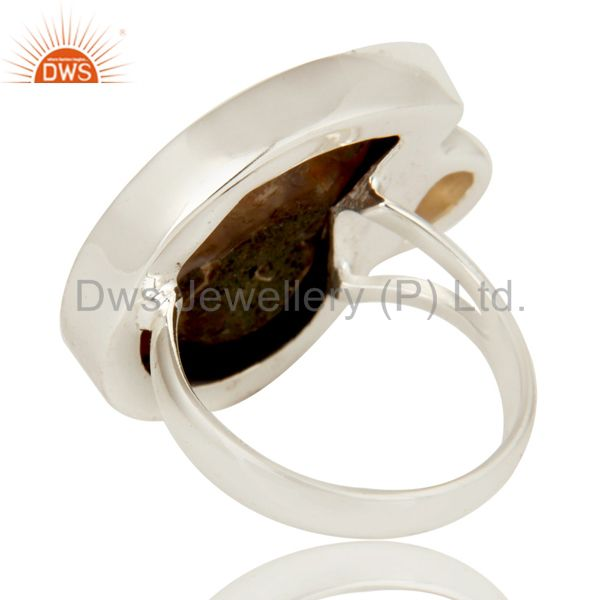 Suppliers Handmade Natural Ammonite & Pear Cut Citrine 925 Sterling Silver Statement Ring