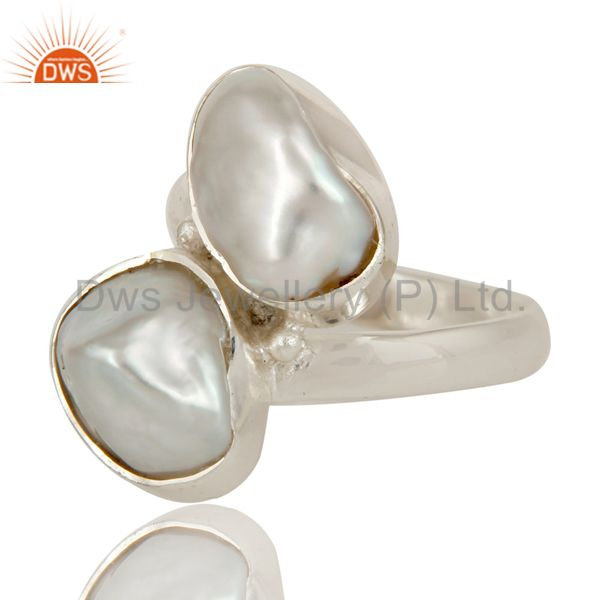 Suppliers Fresh Water Pearl Solid Sterling Silver Handmade Two Stone Ring
