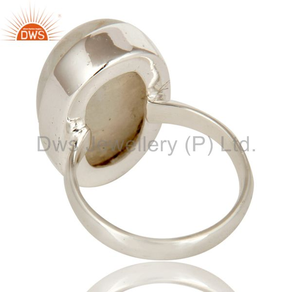 Suppliers Rainbow Moonstone Simple Bezel Set Solid 925 Silver Gemstone Ring