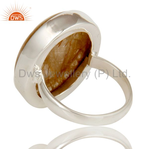 Suppliers Yellow Rutile Golden Rutile Solid 925 Silver Handmade Bezel Set Ring