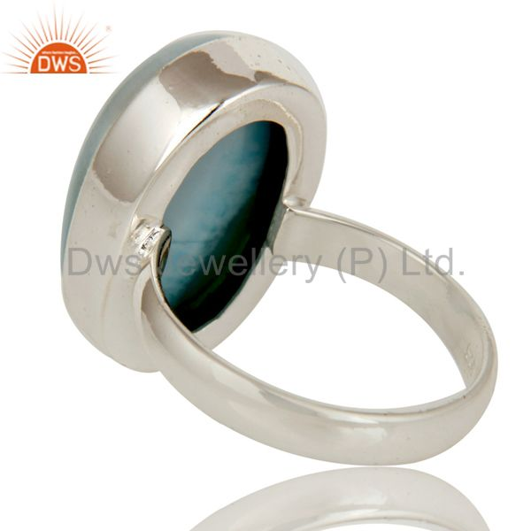 Suppliers Natural Larimar and Solid Sterling Silver Bezel Set Ring