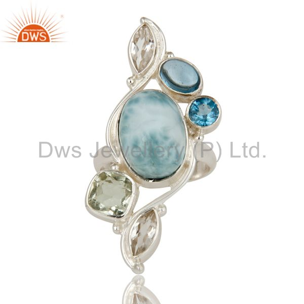 Suppliers Larimar, Green Amethyst, Blue Topaz and Crystal Sterling Silver Handmade Ring