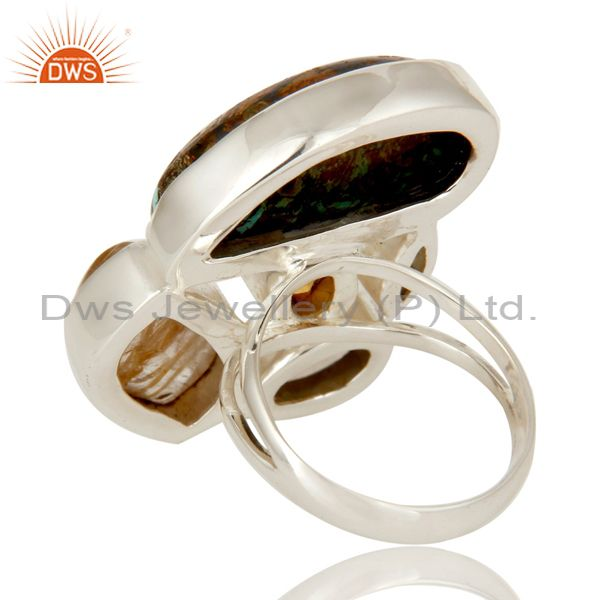 Suppliers Boulder Turquoise, Rutile Citrine and Multi Gemstone Colorful 925 Silver Ring