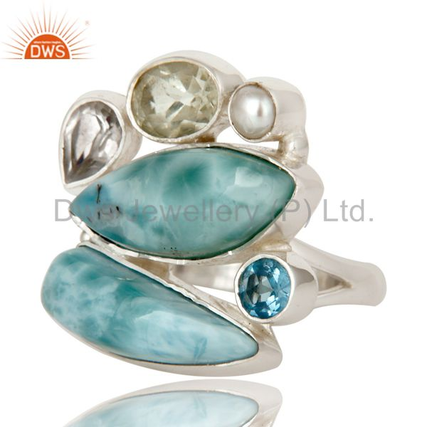 Suppliers Larimar, Blue Topaz and Green Amethyst Solid 925 Silver Handmade Ring