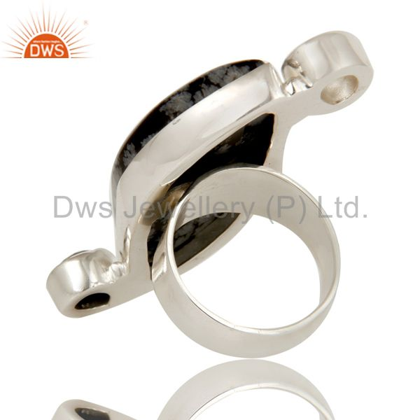 Suppliers Snowflak Obsidian, Black Onyx and Crystal Quartz Solid Sterling Silver Ring
