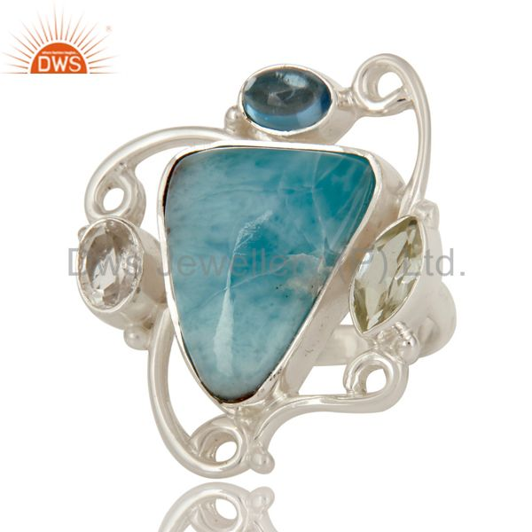 Suppliers Prasiolite, Larimar and Blue Topaz Solid Sterling Silver Gemstone Ring