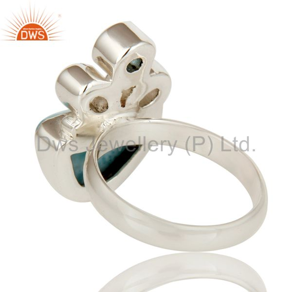 Suppliers Larimar, Blue Topaz and Crystal Solid Sterling Silver Artisan Ring
