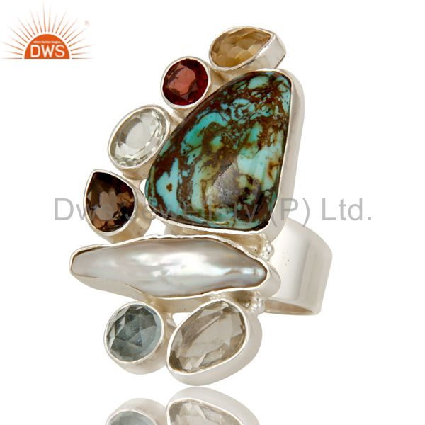 Suppliers Boulder Turquoise, Citrine, Fresh Water Pearl Multi Stone Combination Ring