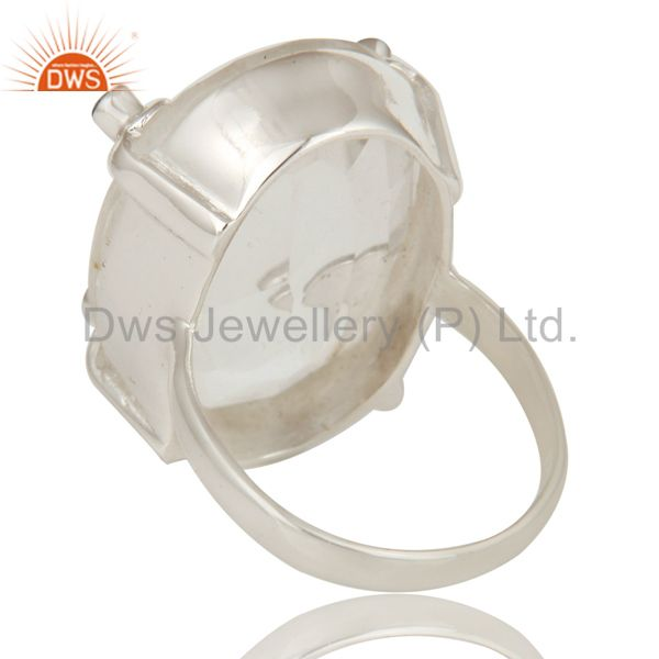 Suppliers London Bue Topaz and Crystal Beautiful Sterling Silver Bezel and Prong Ring