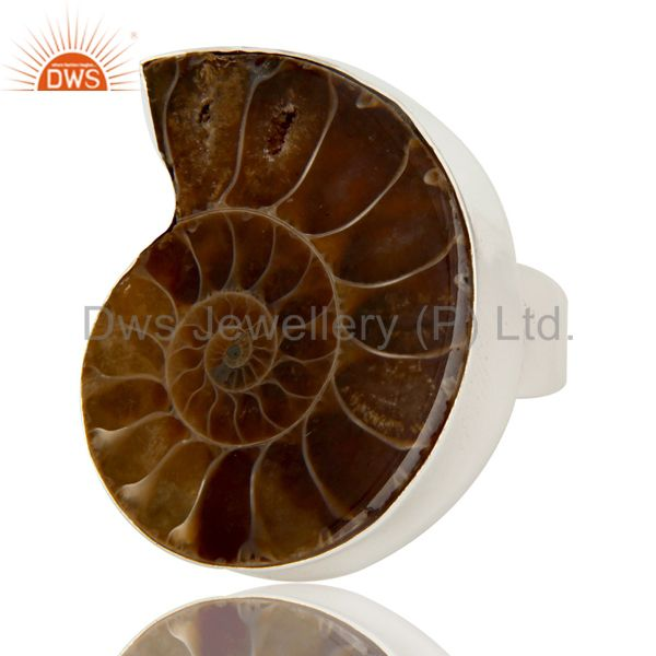 Suppliers Lovely Simple Design Ammonite Statement Ring with 925 Sterling Silver