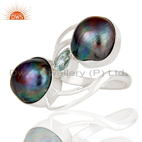 Suppliers Blue Topaz & Fresh Water Pearl 925 Sterling Silver Statement Designer Ring