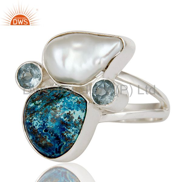 Suppliers Chrysocola, Blue Topaz & Fresh Water Pearl 925 Sterling Silver Designer Ring