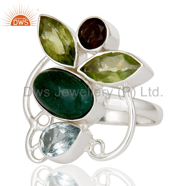 Suppliers Chrysocola, Blue Topaz, Peridot & Smokey Topaz Sterling Silver Statement Ring