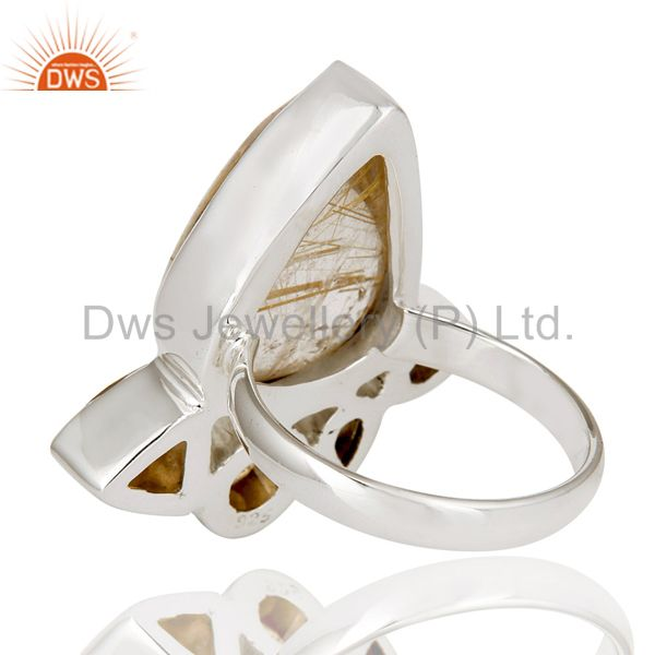 Suppliers Handmade Design Golden Rutile And Citrine 925 Sterling Silver Statement Ring