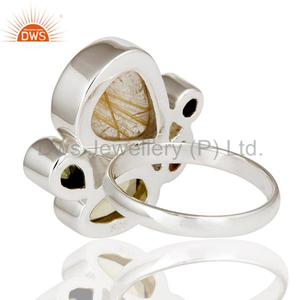Suppliers Rutile Golden,Citrine,Peridot And Lemon Topaz Sterling Silver Statement Ring