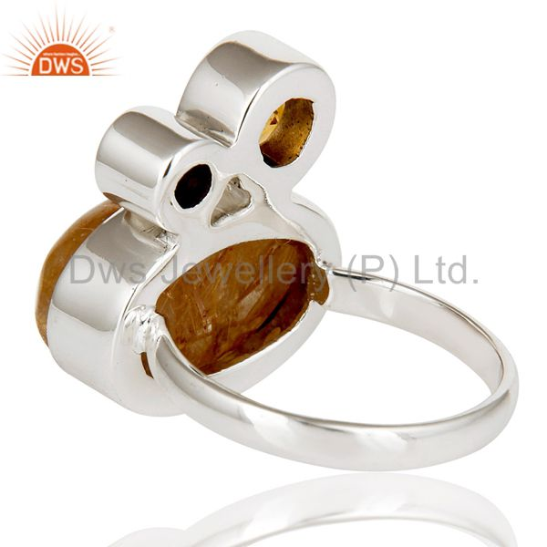 Suppliers Golden Rutile,Garnet And Citrine 925 Sterling Silver Statement Ring