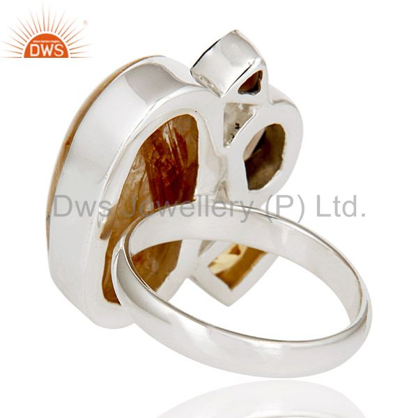 Suppliers Golden Rutile,Garnet,Citrine And Smokey Topaz Sterling Silver Statement Rsing